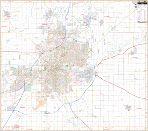Ft Wayne Allen County, In Wall Map - Large Laminated