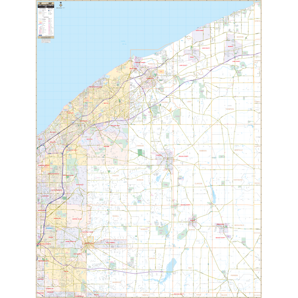 Lake And Geauga Counties, OH Wall Map