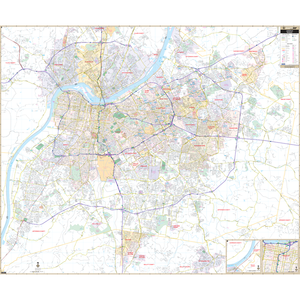 Louisville Jefferson Co, Ky Wall Map - Large Laminated
