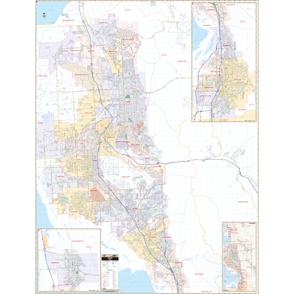 Ogden and Davis and Weber Co, UT Wall Map