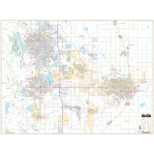 Ft Collins And Greeley, Co Wall Map - Large Laminated