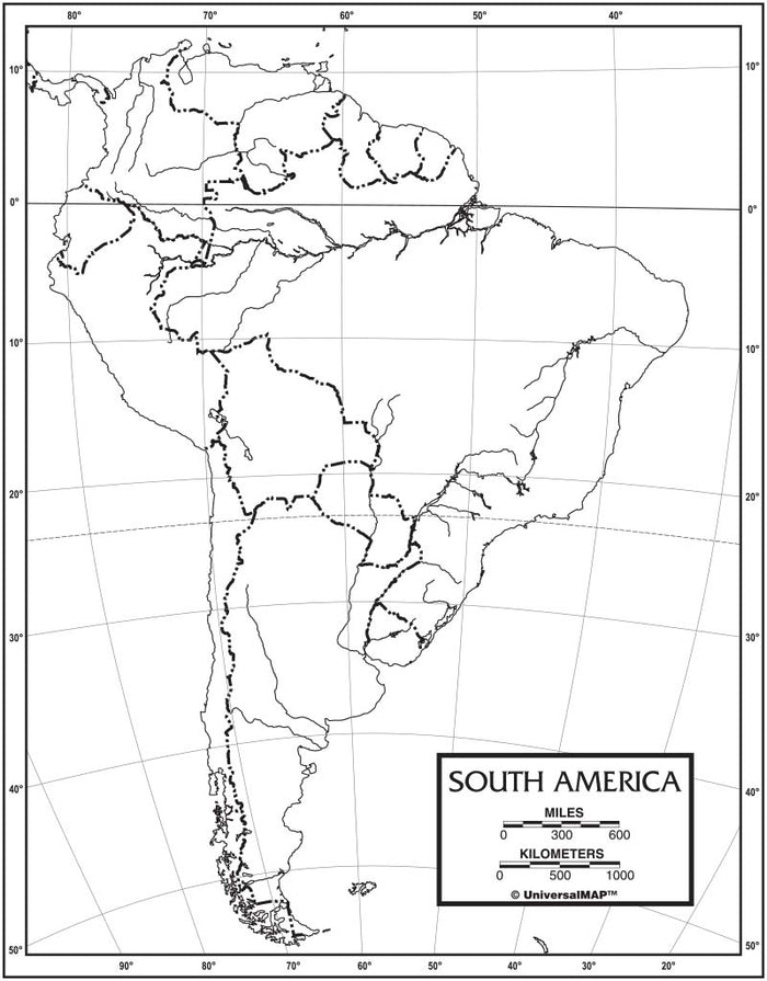 South America Outline Map 50 Pack, Paper or Laminated