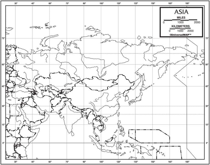 Asia Outline Map 50 Pack, Paper or Laminated