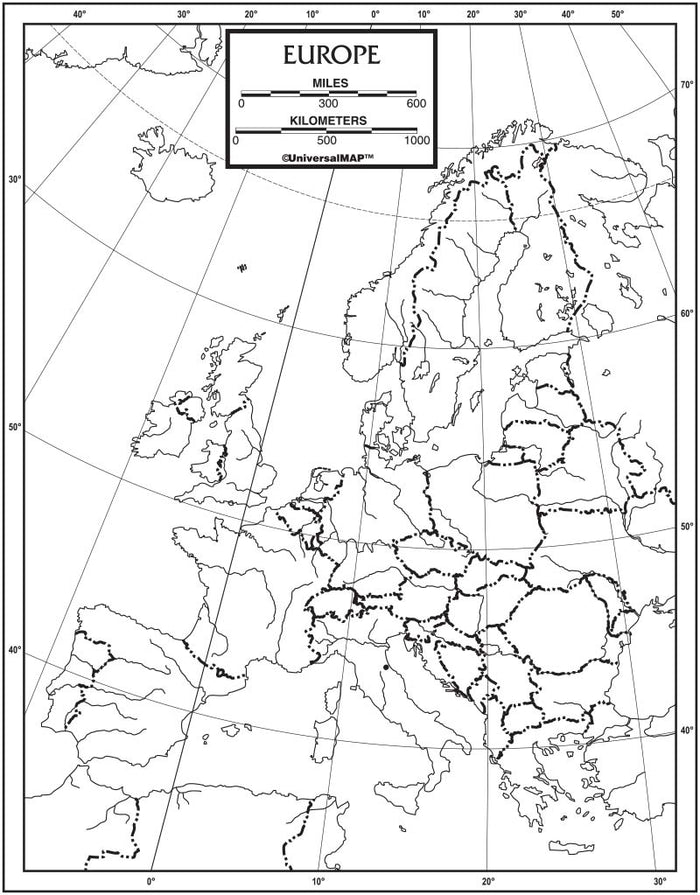 Europe Outline Map 50 Pack, Paper or Laminated