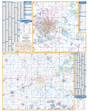 Jackson Jackson Co, Mi Wall Map - Large Laminated