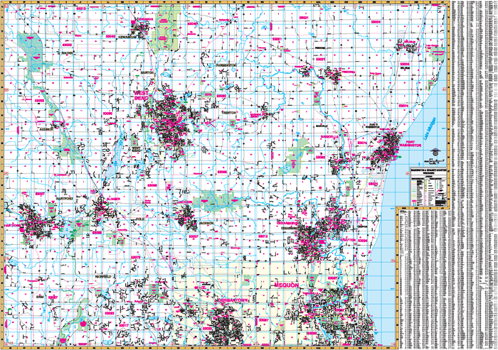 Washington And Ozaukee Counties, WI Wall Map