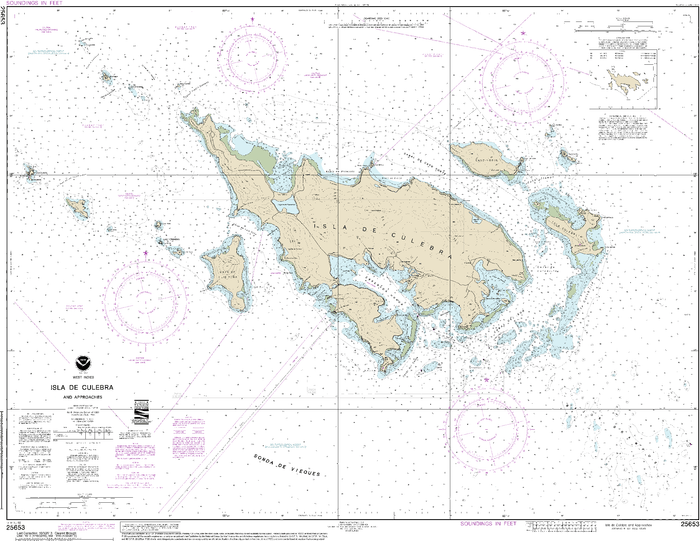 NOAA Nautical Chart 25653: Isla de Culebra and Approaches
