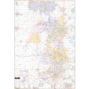 Fayetteville Bentonville, Ar Wall Map - Large Laminated