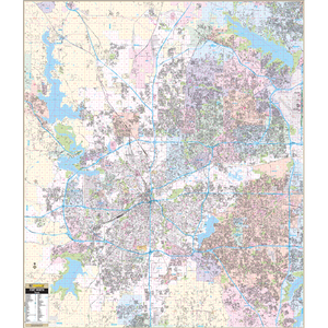 Ft Worth, Tx Wall Map - Large Laminated