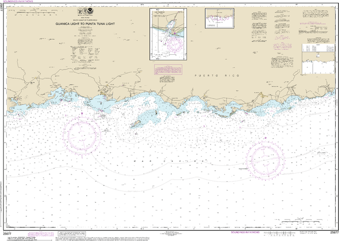 NOAA Nautical Chart 25677: South Coast of Puerto Rico Guanica Light to Punta Tuna Light;Las Mareas