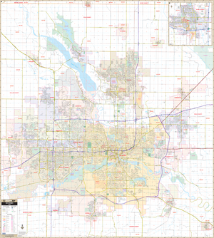 Des Moines, Ia Wall Map - Large Laminated