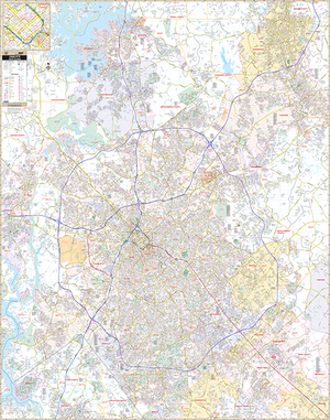 Charlotte Mecklenburg Co, Nc Wall Map - Large Laminated