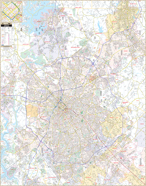 Charlotte Mecklenburg Co, NC Wall Map