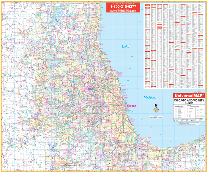 Chicago And Vicinity, IL Wall Map