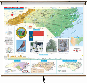 Kappa Map Group  North Carolina State Primary Thematic Classroom Wall Map