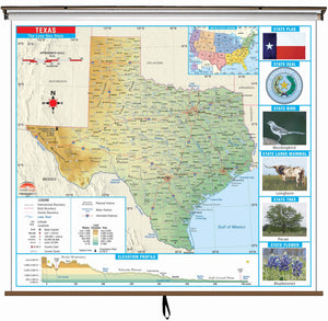 Kappa Map Group  Texas State Primary Thematic Classroom Wall Map