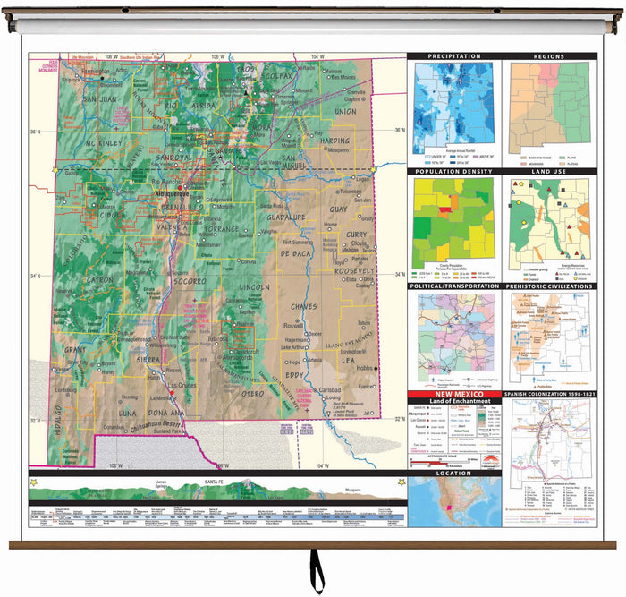 New Mexico State Intermediate Thematic Classroom Wall Map
