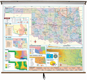 Kappa Map Group  Oklahoma State Intermediate Thematic Classroom Wall Map