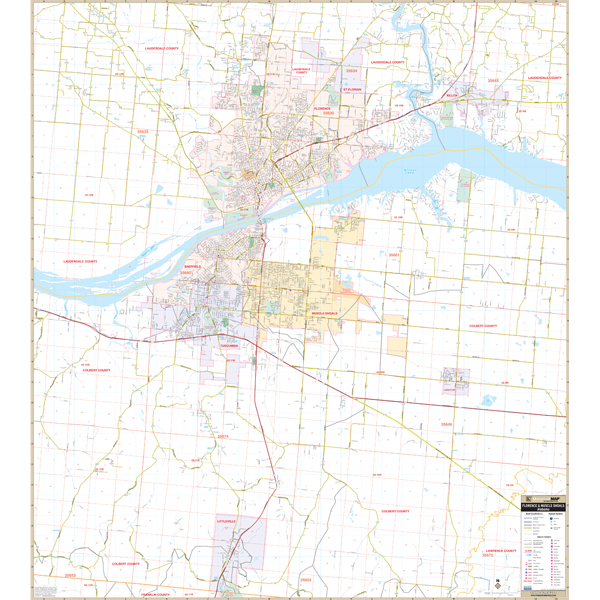 Florence Muscle Shoals, AL Wall Map