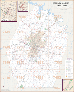 Cleveland Bradley Co, Tn Wall Map - Large Laminated