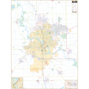 Cedar Rapids, Ia Wall Map - Large Laminated