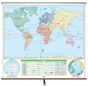 Kappa Map Group  World Beginner Classroom Wall Map