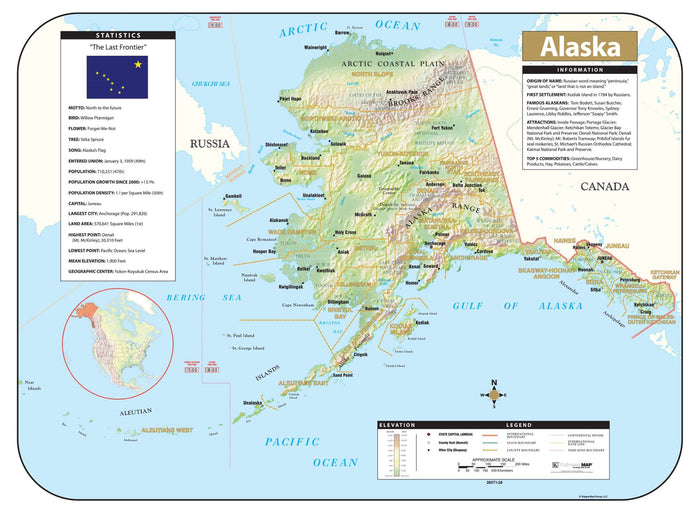 Alaska Shaded Relief Map