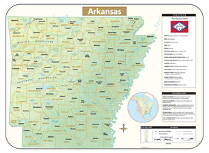 Kappa Map Group Arkansas Shaded Relief Map