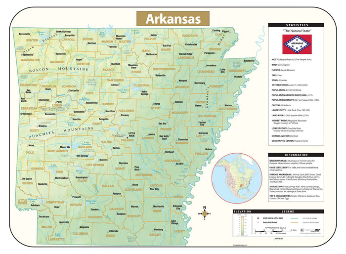 Arkansas Shaded Relief Map