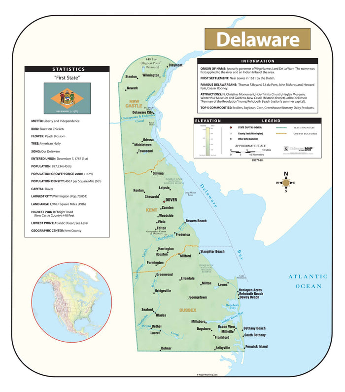 Delaware Shaded Relief Map