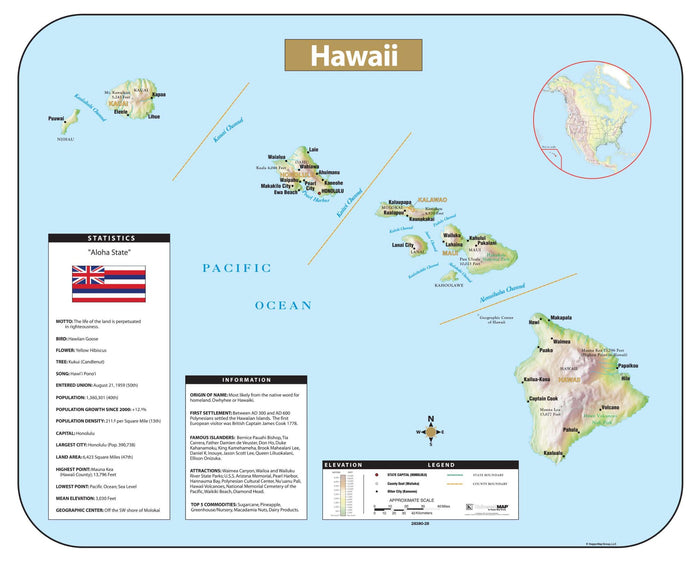 Hawaii Shaded Relief Map