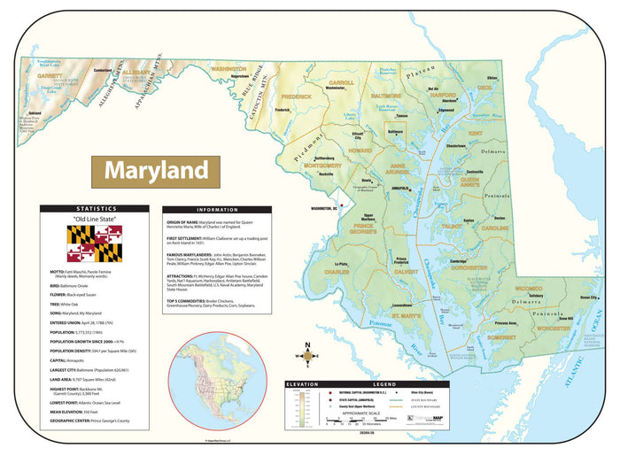 Maryland Shaded Relief Map