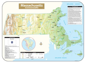 Kappa Map Group Massachusetts Shaded Relief Map