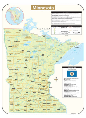 Minnesota Shaded Relief Map