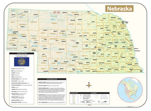 Kappa Map Group Nebraska Shaded Relief Map