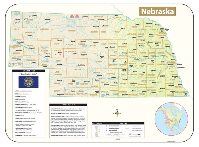 Nebraska Shaded Relief Map