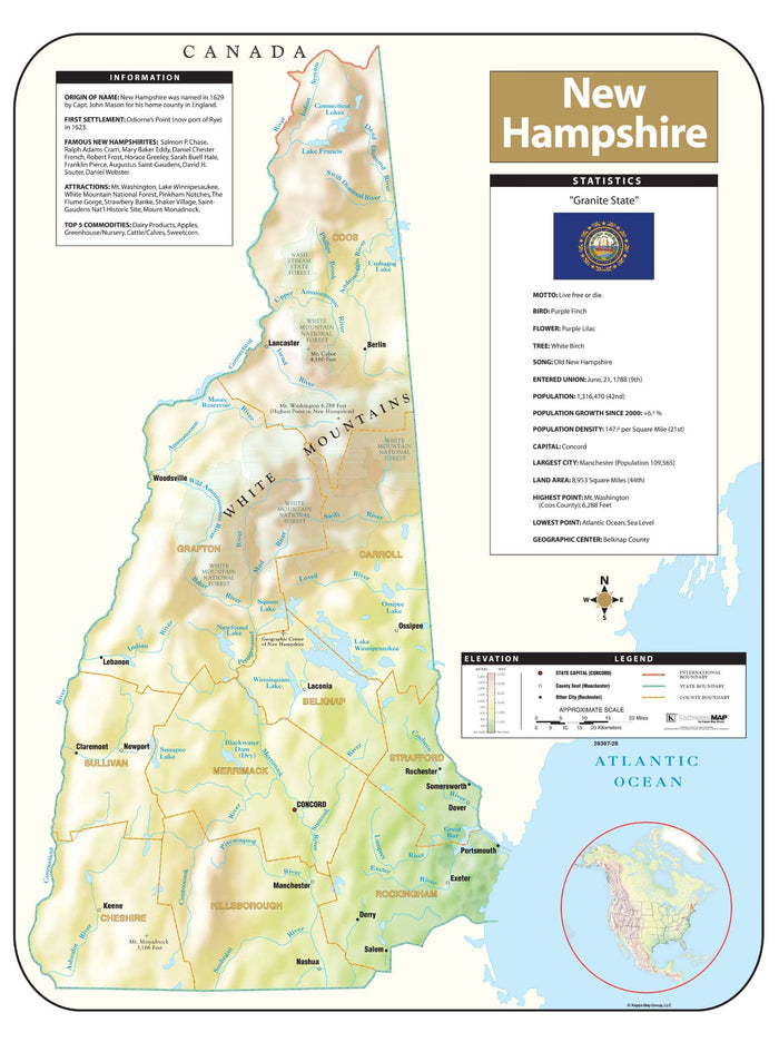New Hampshire Shaded Relief Map