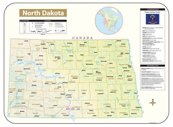 North Dakota Shaded Relief Map
