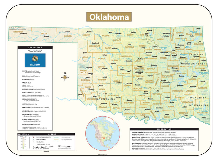 Oklahoma Shaded Relief Map