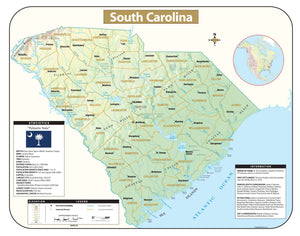 Kappa Map Group South Carolina Shaded Relief Map