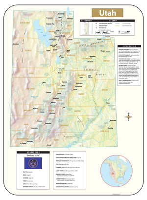 Kappa Map Group Utah Shaded Relief Map