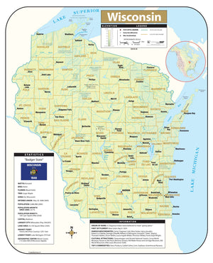 Kappa Map Group Wisconsin Shaded Relief Map