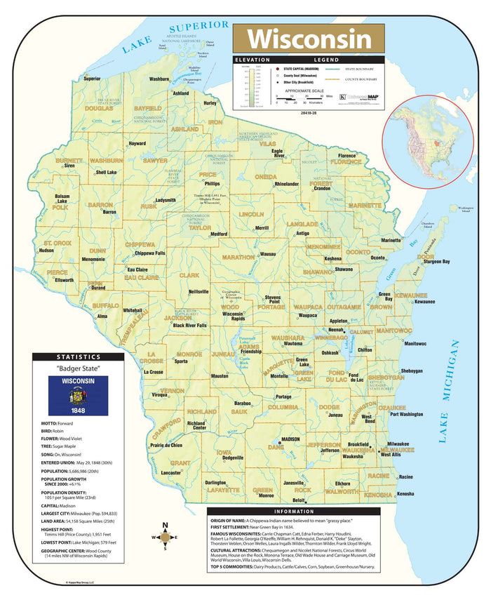 Wisconsin Shaded Relief Map