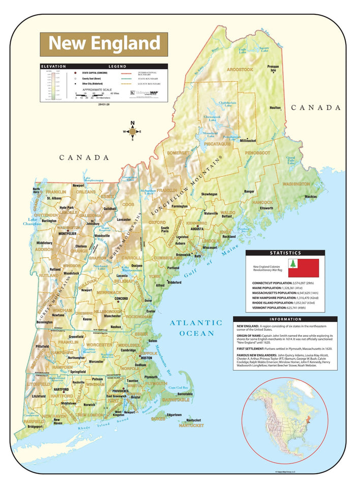 New England Shaded Relief Map