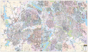Dallas Ft Worth Combo, Tx Wall Map - Large Laminated