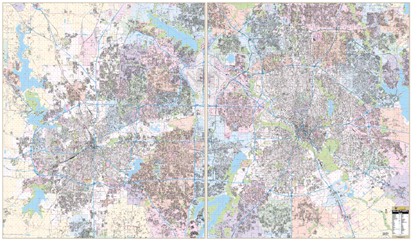 Dallas Ft Worth Combo, TX Wall Map