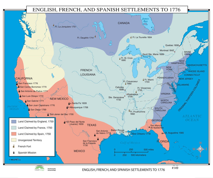 #149 English, French & Spanish Settlements to 1776