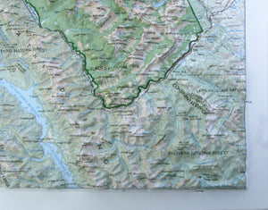 Glacier National  Park 3D Three Dimensional Raised Relief Map