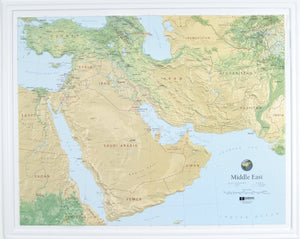 Middle East Three Dimensional Raised Relief Map