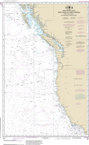 NOAA Nautical Chart 501: North Pacific Ocean West Coast Of North America  Mexican Border To Dixon Entrance